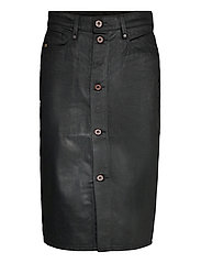 Noxer Navy Pencil Button skirt - WAXED BLACK COBLER