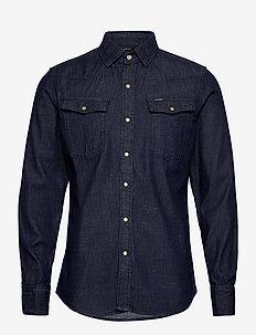 3301 slim shirt l\s - podstawowe koszulki - rinsed