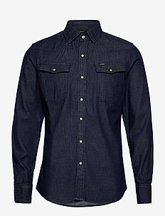 3301 slim shirt l\s - peruspaitoja - rinsed