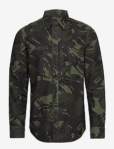 Scutar straight shirt l\s - casual overhemden - wild rovic/dk combat ao