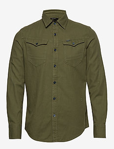 Arc 3d slim shirt l\s - basic shirts - sage