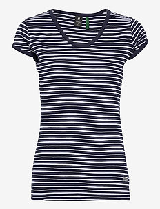 Core eyben slim u t wmn s\s - t-shirts - sartho blue elise stripe