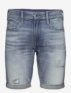 3301 Slim Short - denim shorts - vintage cool aqua destroyed