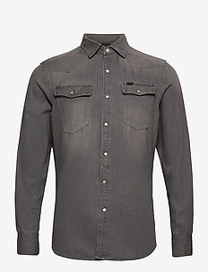 3301 slim shirt l\s - peruspaitoja - faded dust grey