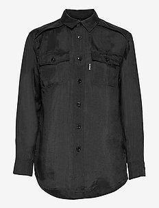 3301 regular shirt wmn l\s - overhemden met lange mouwen - dk black
