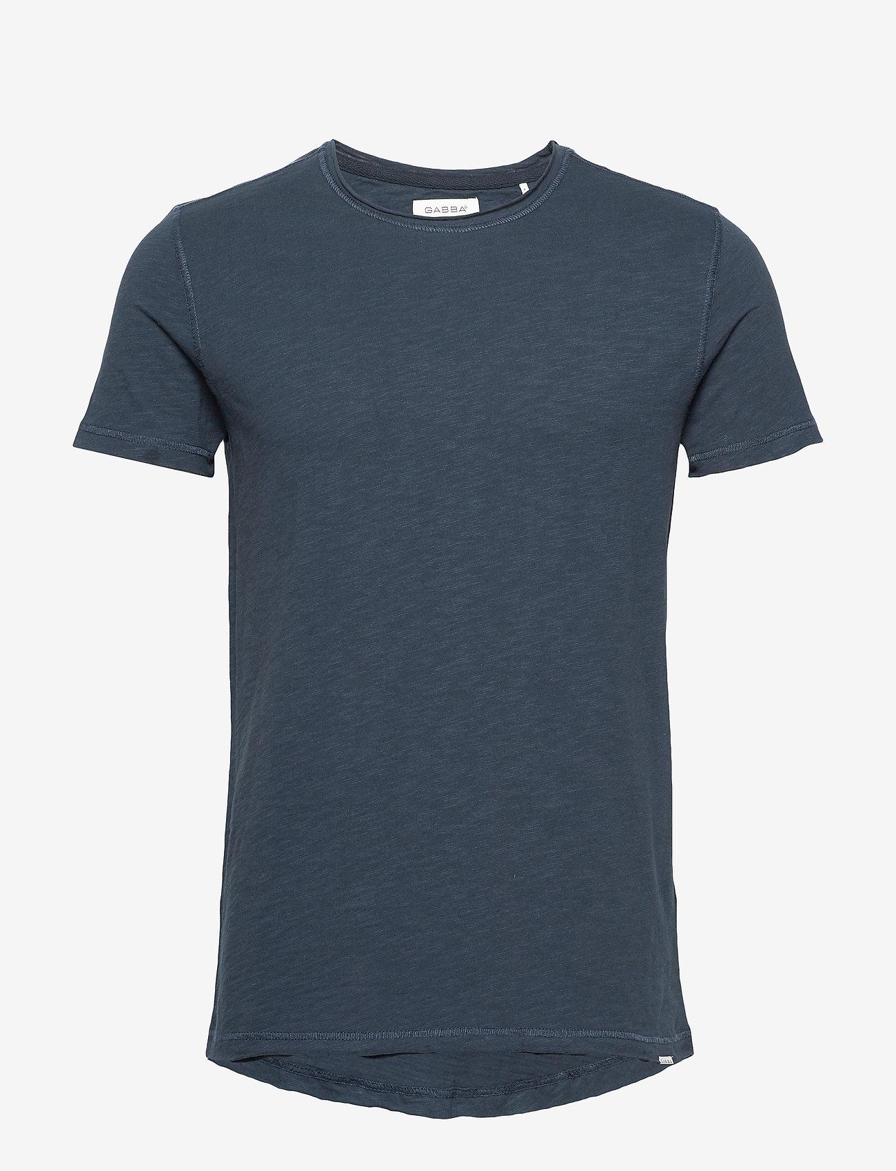 Gabba - Konrad Slub S/S Tee - basic t-shirts - navy - 0