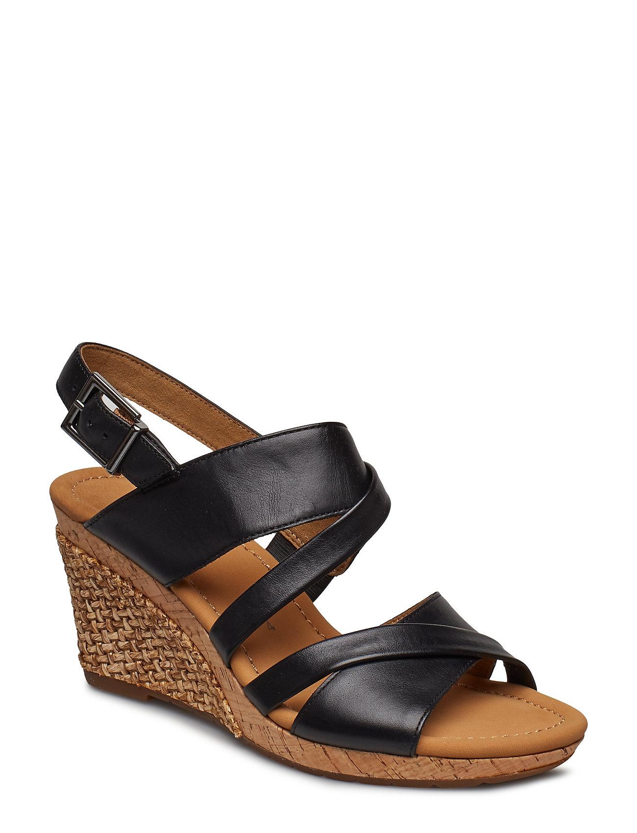 2be2f5c7d960 Sling Sandals espadrillos med kilehæl fra Gabor til dame i Sort ...