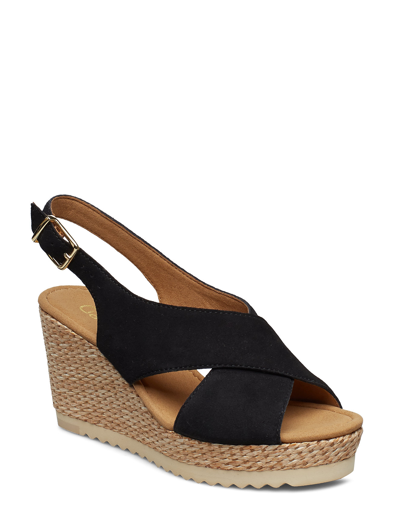 ef2f42d9e4f3 Sort Gabor Sling Sandals espadrillos med kilehæl for dame - Pashion.dk