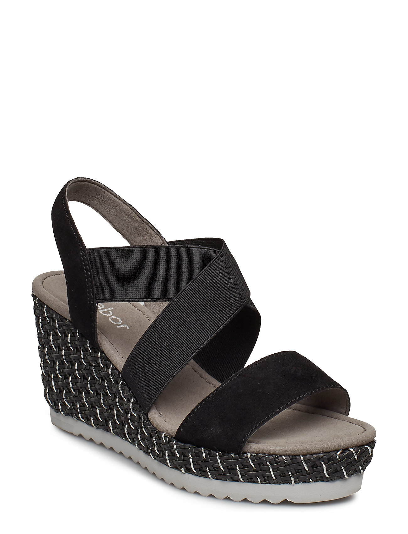 bcd52592cbe0 Sort Gabor Sling Sandals espadrillos med kilehæl for dame - Pashion.dk
