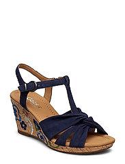 Sling Sandals Sandal Med Hæl Espadrilles Blå GABOR