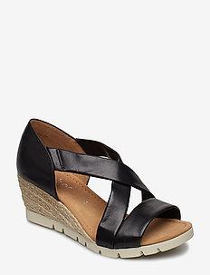 Sling Sandals - heeled espadrilles - black