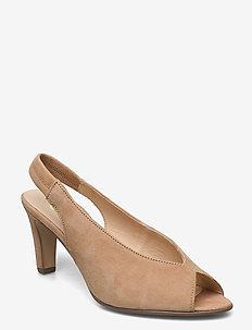 sandals - szpilki peep toe - beige