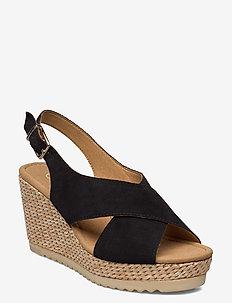 sandals - heeled espadrilles - black