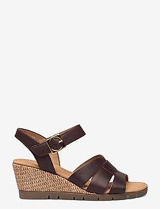 Ankle-stap sandal - espadriller med klack - brown
