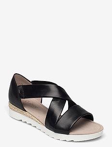 Ankle-stap sandal - espadrilles mit absatz - black