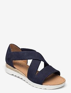 Ankle-stap sandal - espadriller med klack - blue