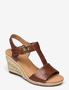 Ankle-stap sandal - højhælede espadrillos - brown