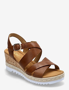 Ankle-stap sandal - espadrilles mit absatz - brown