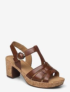 Ankle-stap sandal - højhælede sandaler - brown