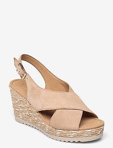 Ankle-stap sandal - espadrilles mit absatz - beige