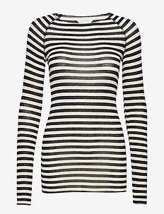 Amalie Medium Stripe - langærmede toppe - chateau grey/black