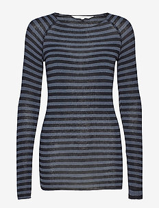 Amalie Medium Stripe - langermede topper - dark grey/black stripe