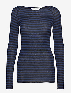 Amalie Medium Stripe - langermede topper - dress blue/black stripe