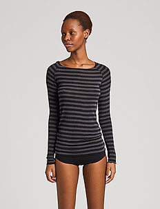 Amalie Medium Stripe - langærmede toppe - dark grey/black stripe