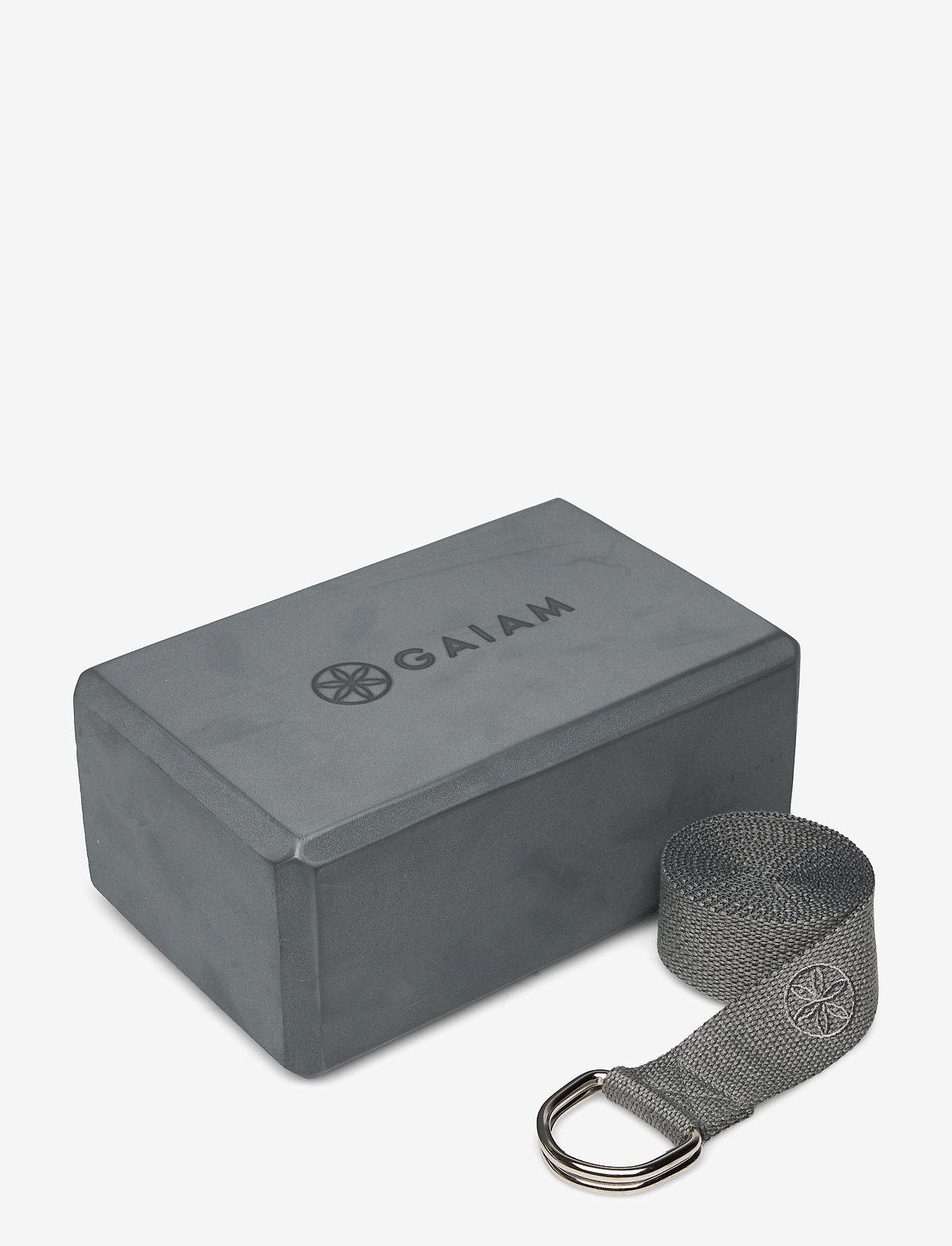 Gaiam - GAIAM BLOCK-STRAP COMBO GREY - joogablokit ja vyöt - grey - 0