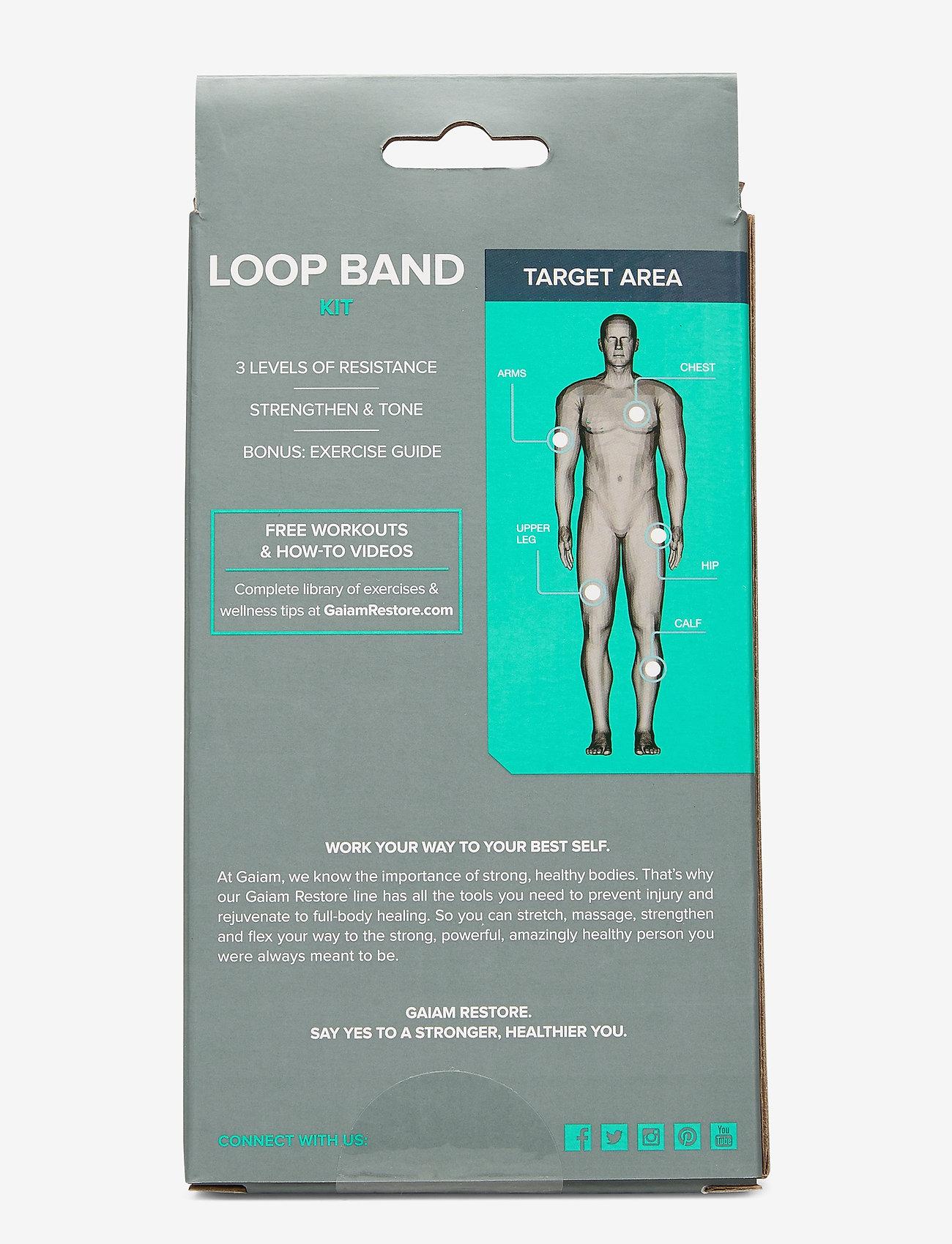Gaiam - Restore Loop Band Kit - vastuskuminauhat - green, blue, grey - 1