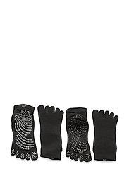 Grippy Yoga Socks Black/Grey 2-Pack - BLACK