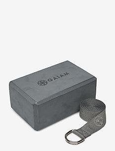 GAIAM BLOCK-STRAP COMBO GREY - yoga mats & equipment - grey