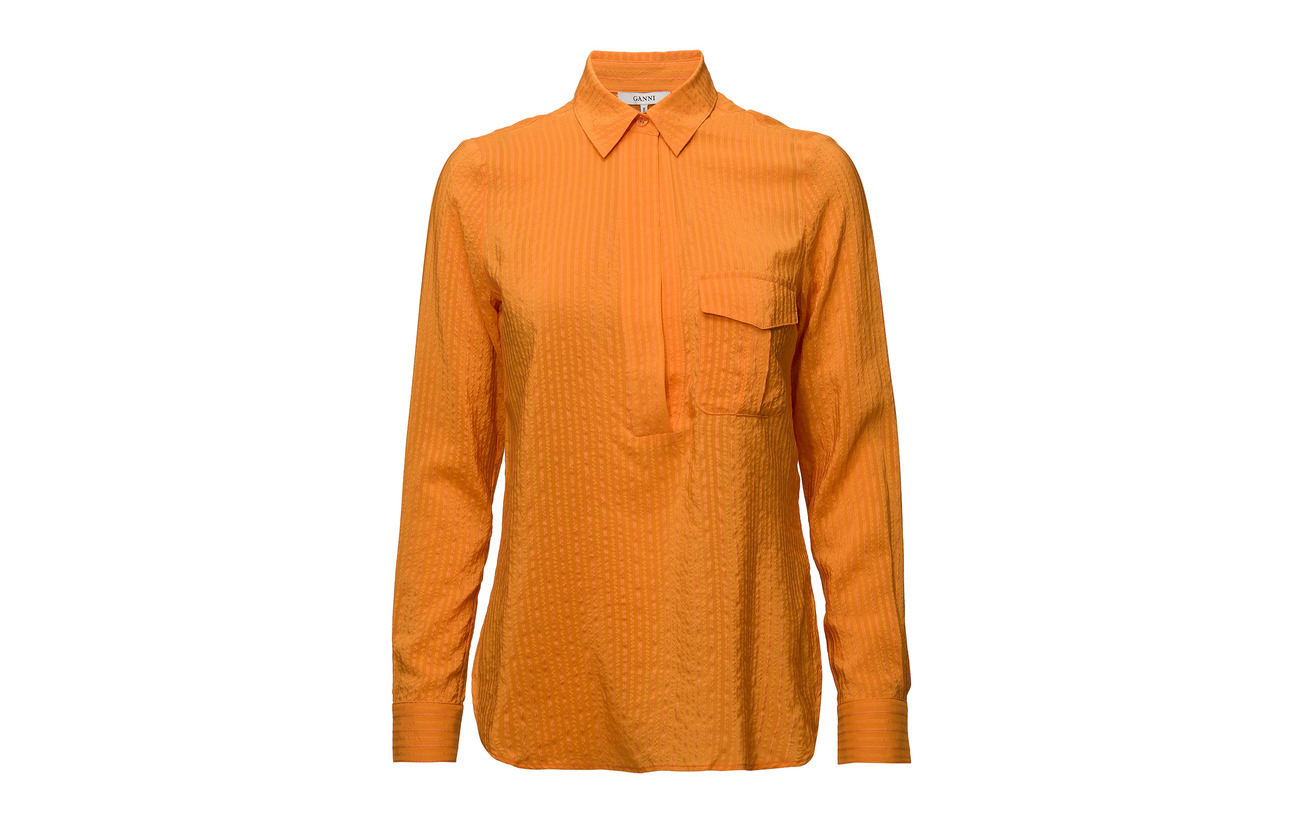 Ganni Seersucker Soie Coton Wilkie 8 92 Turmeric Orange 4Axf4P7