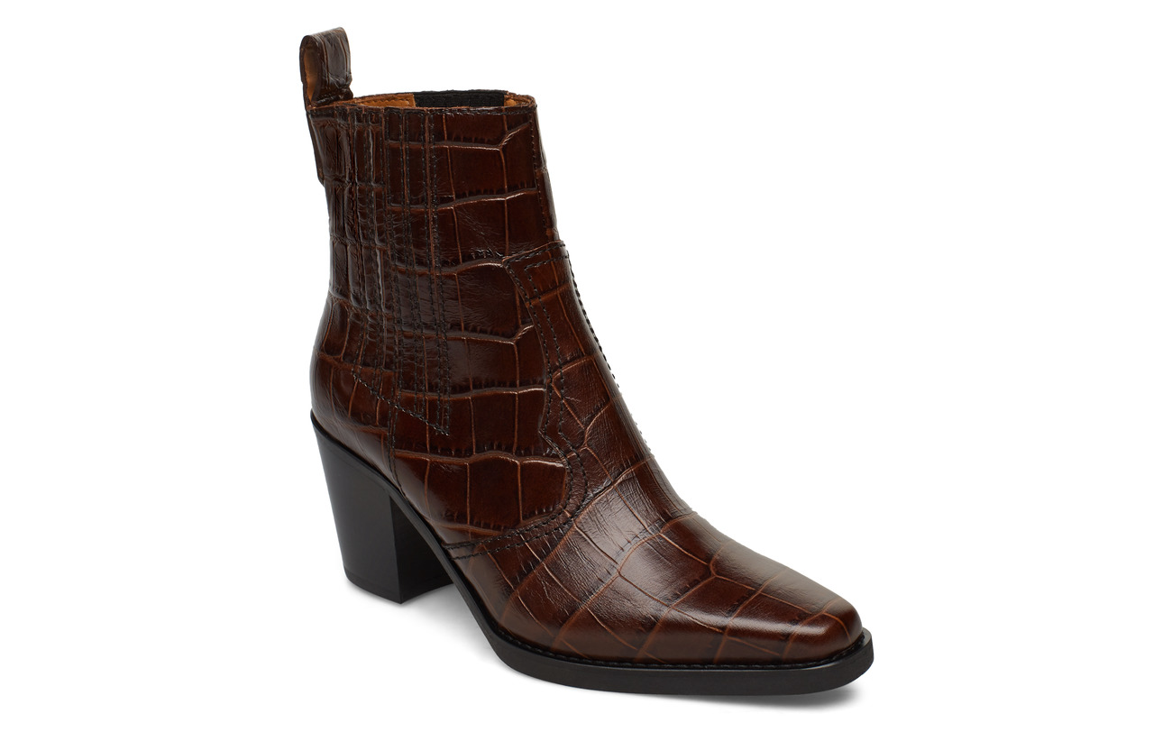 Ganni Western Ankle Boots - CHICORY COFFEE