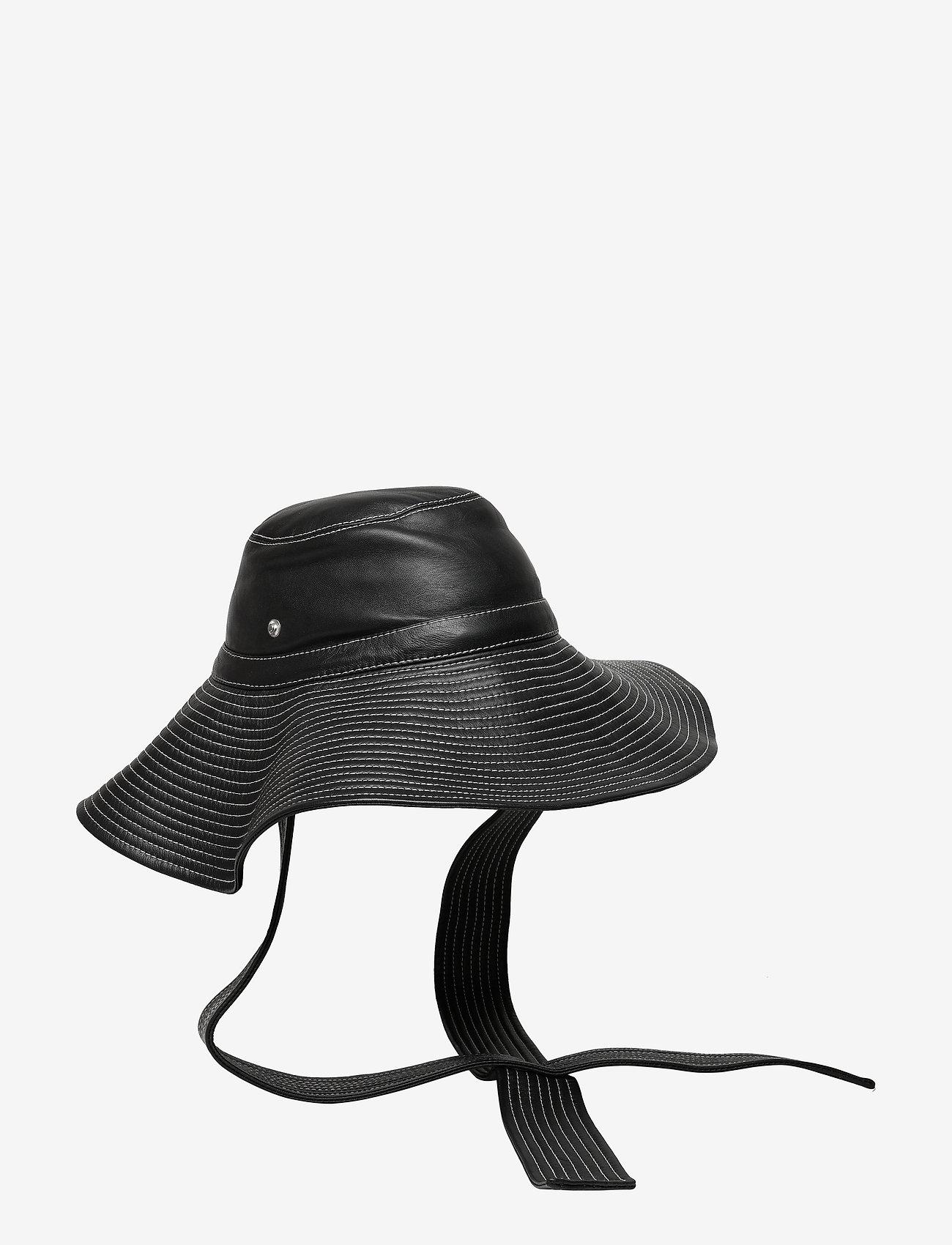 Ganni - Lamb Leather Accessories - hatte - black - 0