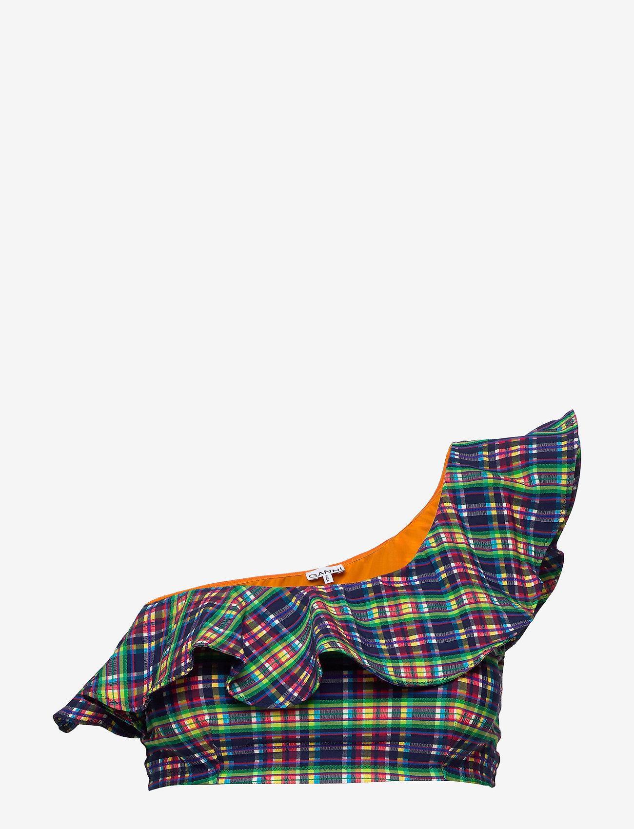 Ganni - Seersucker Swimwear - góry strojów kąpielowych - multicolour - 0