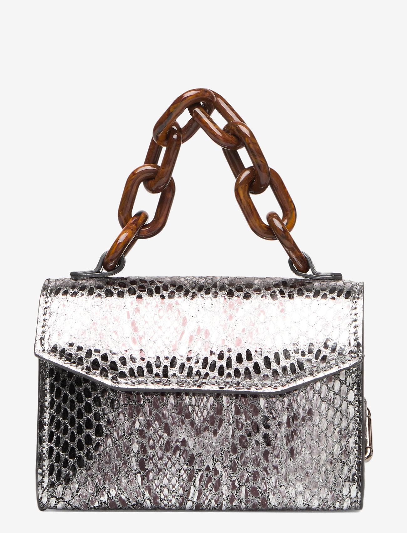 Ganni - Leather - top handle tasker - silver - 0