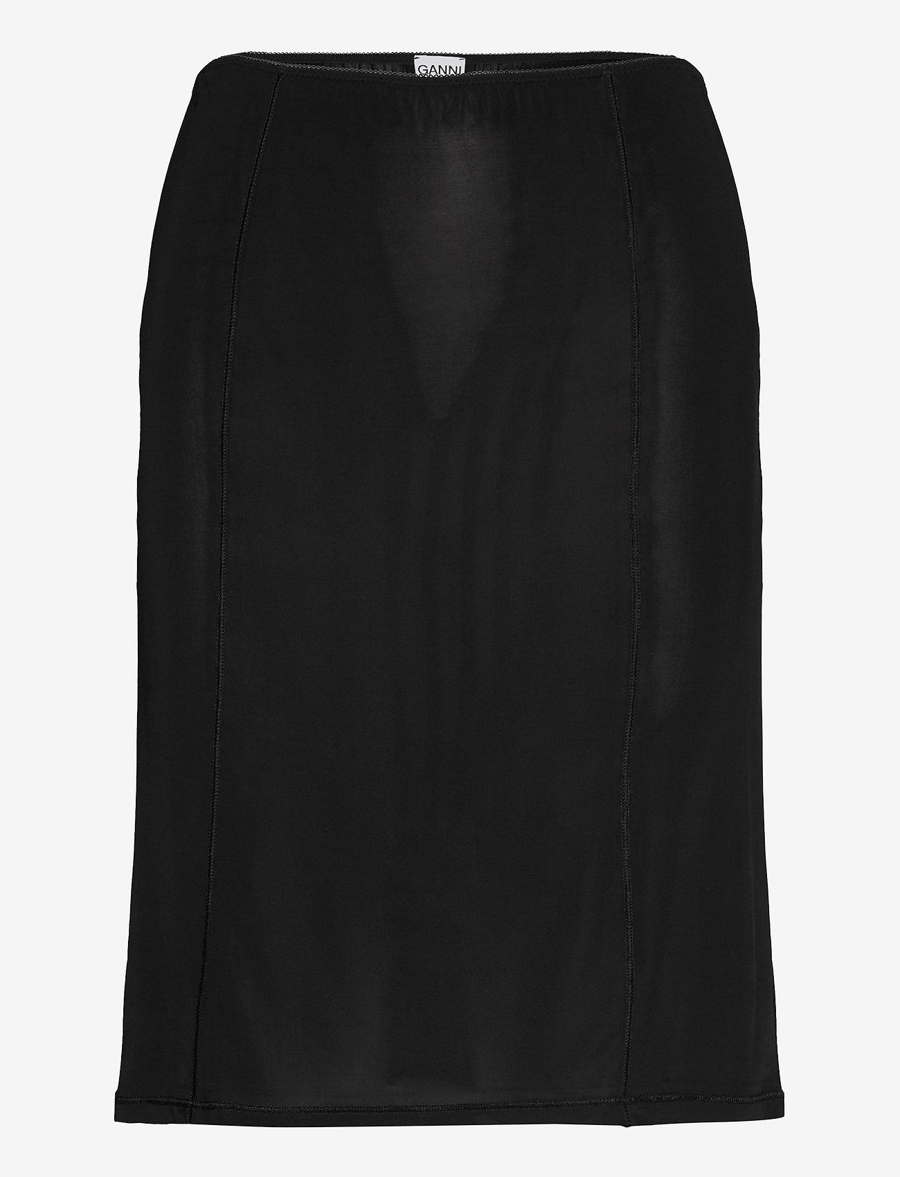 Ganni - Slip Skirt - korte nederdele - black - 0