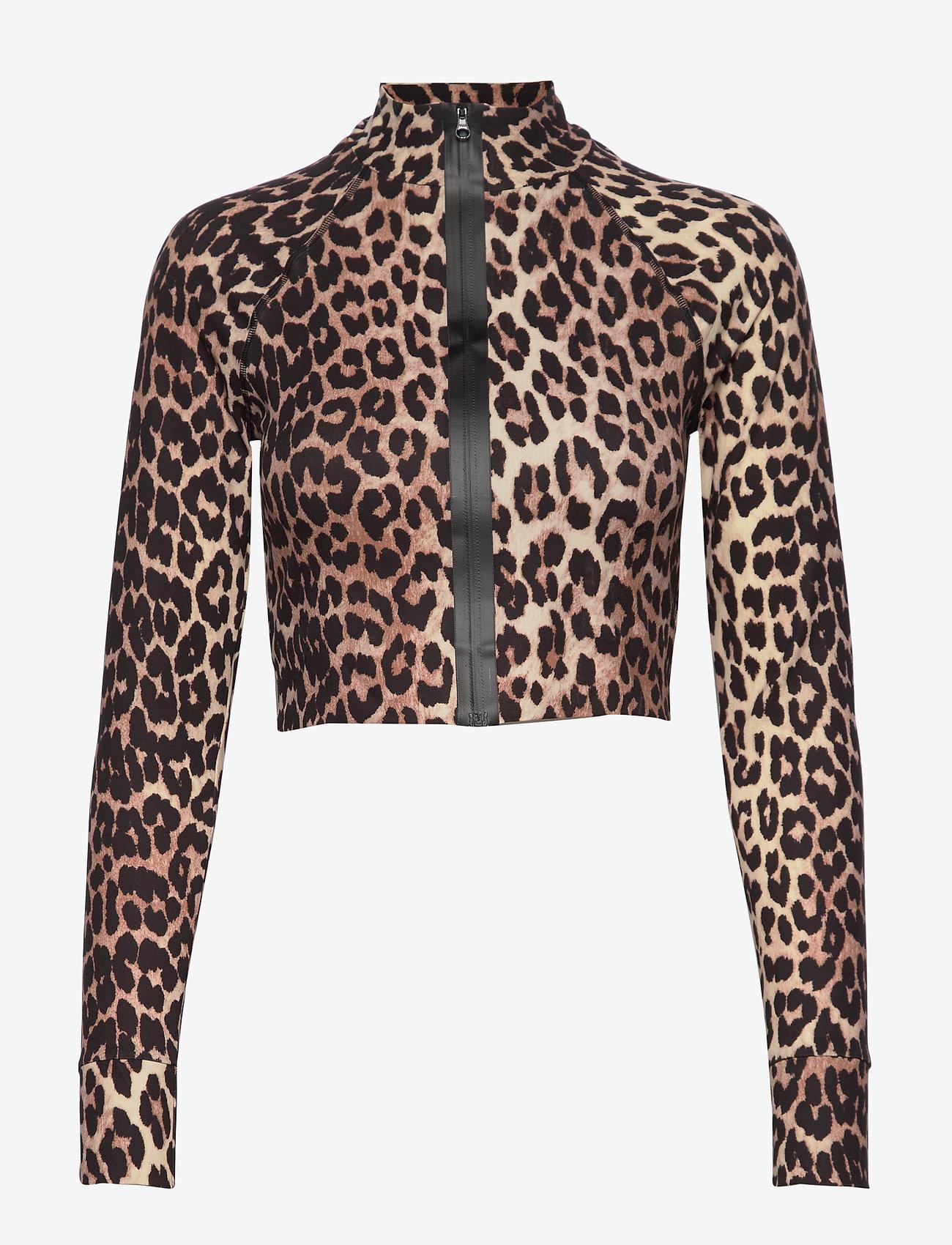 Ganni - Recycled Crisp Swimwear - langærmede toppe - leopard - 0