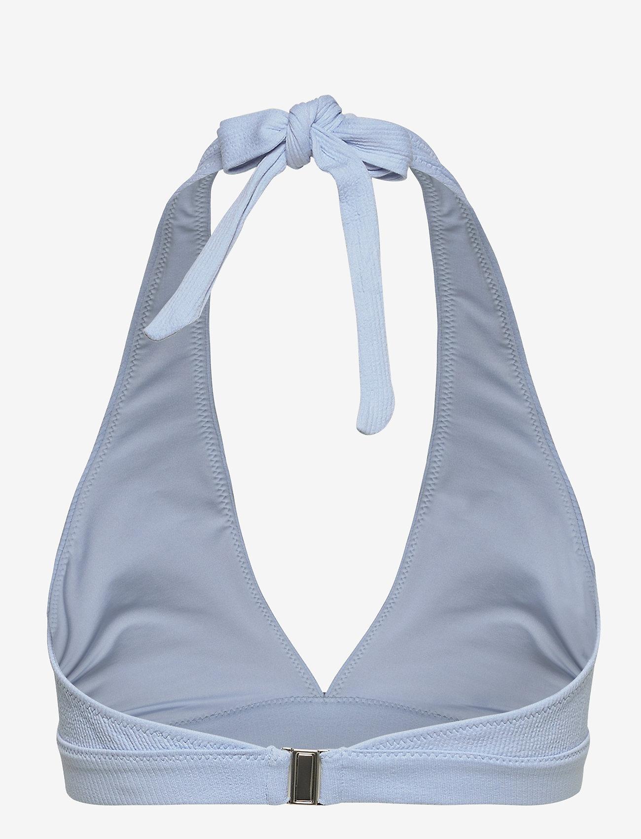Ganni - Recycled Textured - bikini tops - chambray blue - 1