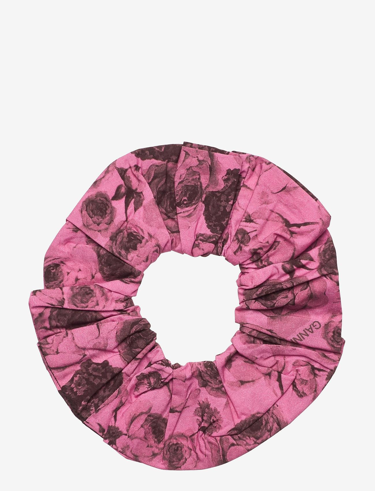 Ganni - Printed Cotton Poplin - scrunchies - shocking pink - 0