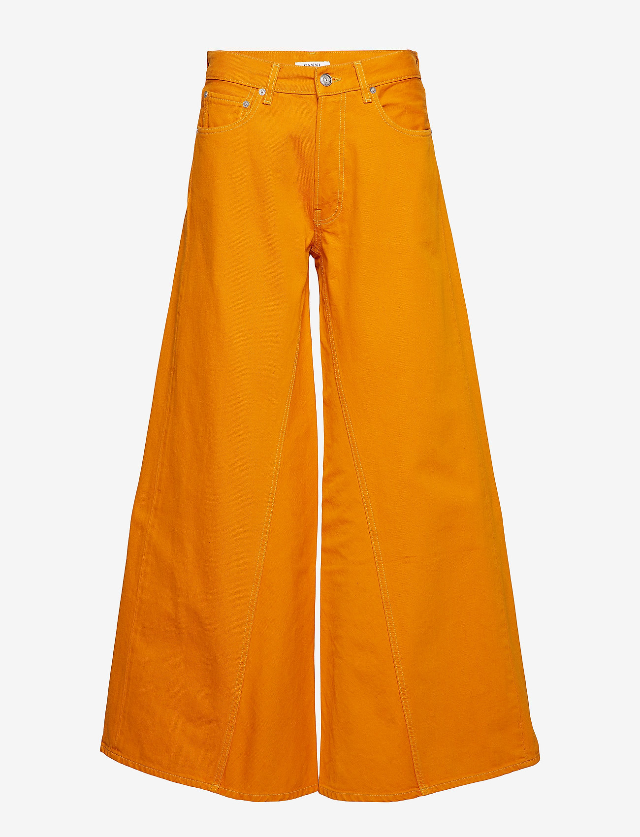 Ganni - Denim Runway - szerokie dżinsy - turmeric orange - 0