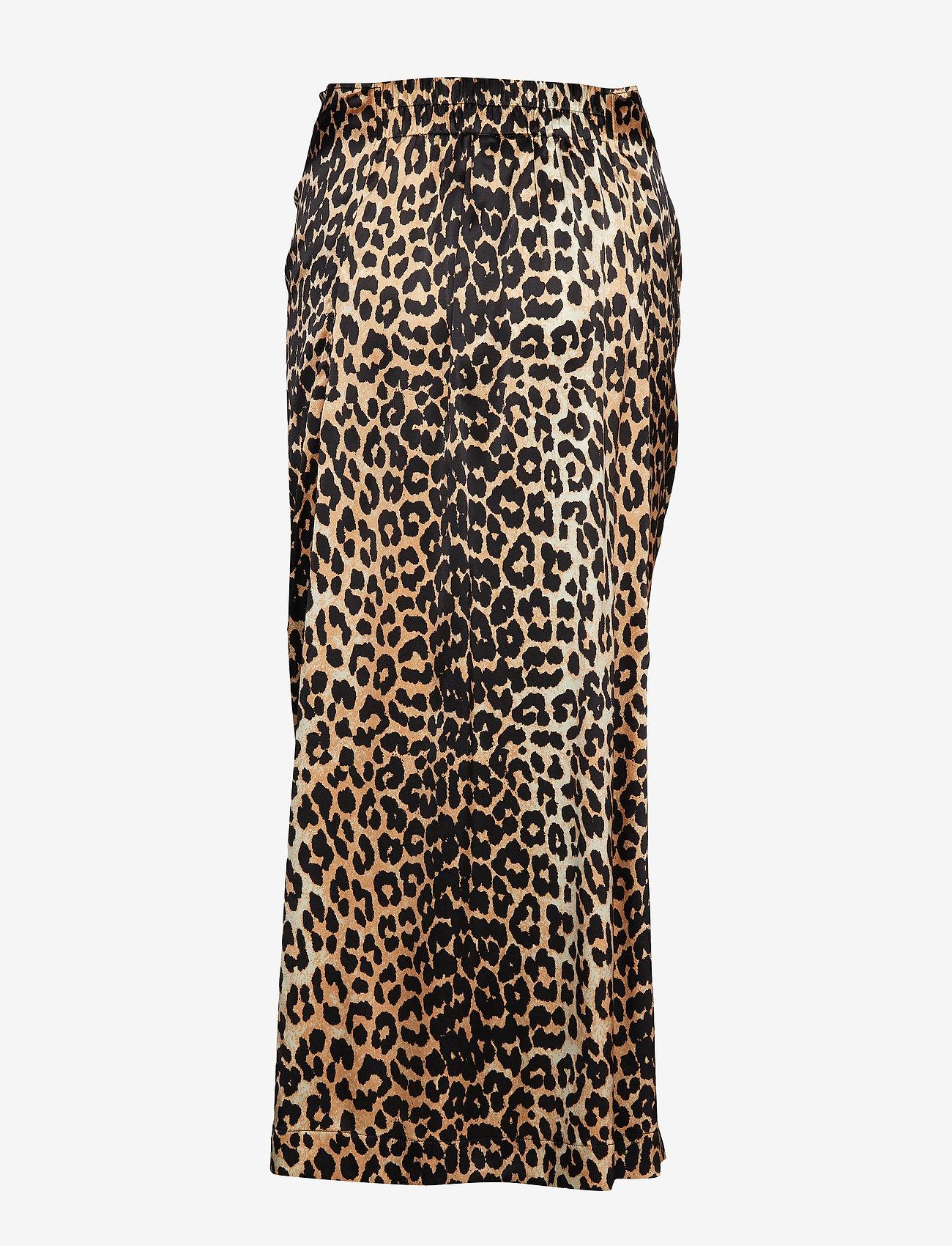 Ganni - Silk Stretch Satin Skirt - maxi skirts - leopard - 1