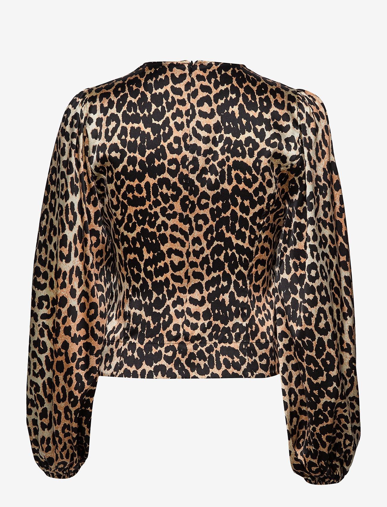 Ganni Silk Stretch Satin - Bluzki & Koszule LEOPARD - Kobiety Odzież.