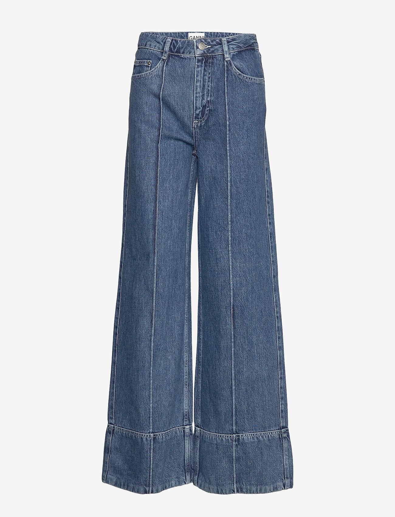 Ganni - Suit Denim - broeken met wijde pijpen - denim - 0