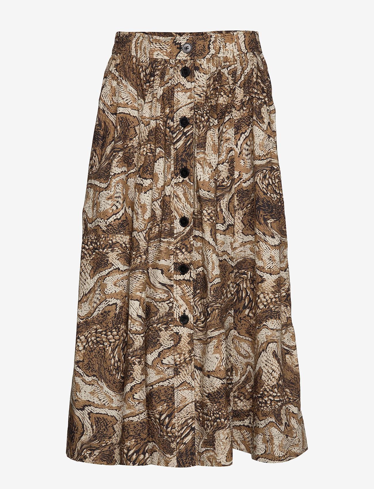 Ganni - Printed Cotton Poplin - maxi nederdele - tiger's eye - 0