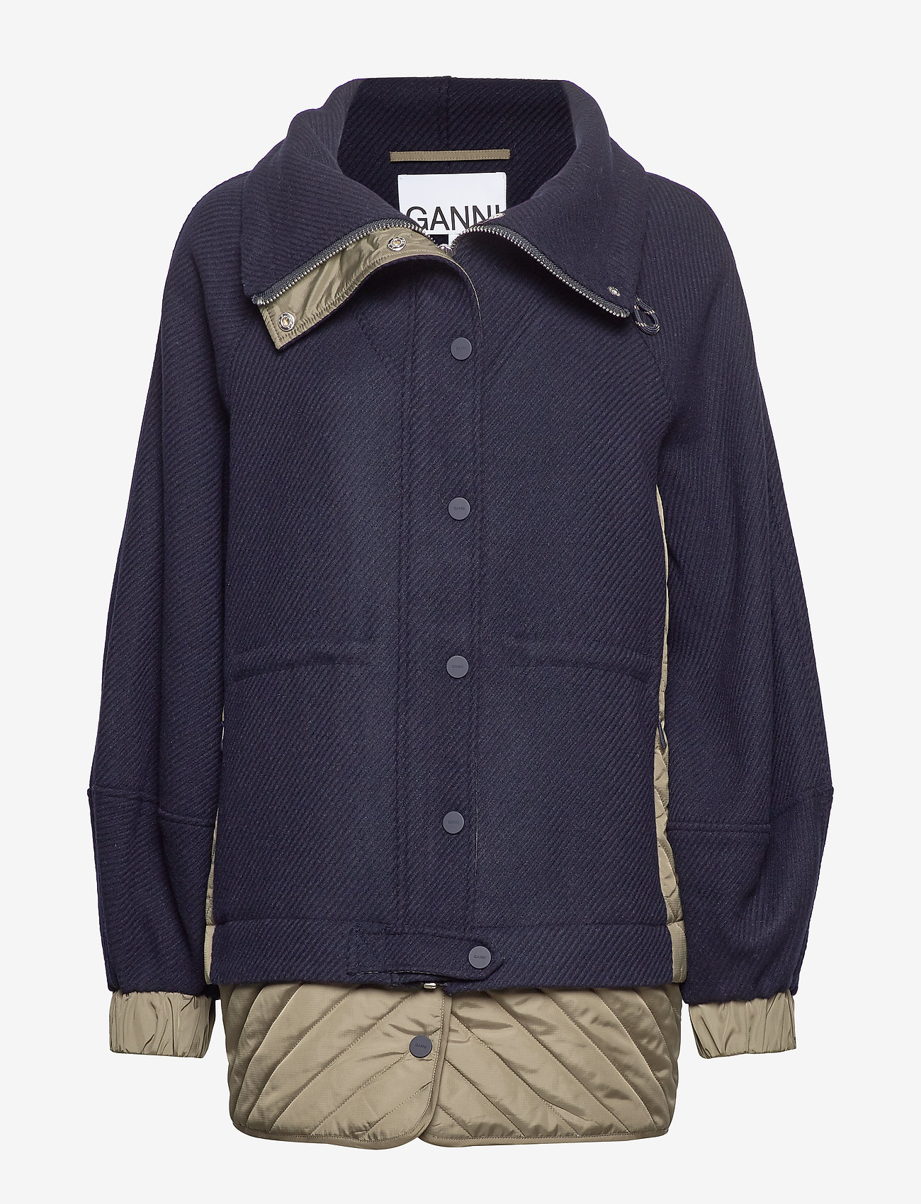 Ganni - Tech/Wool - wełniane kurtki - sky captain - 0