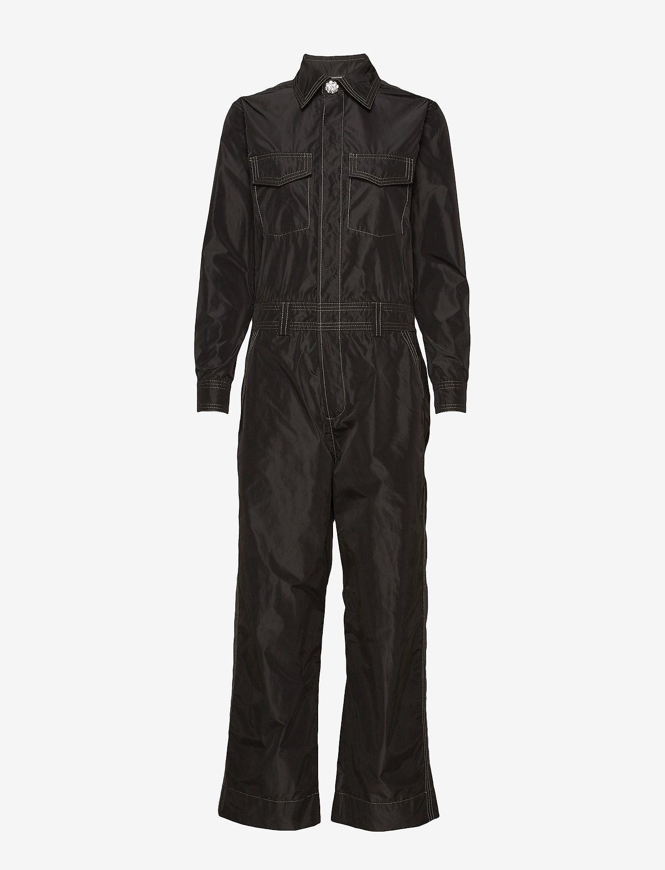 Ganni - Recycled Polyester Jumpsuit - jumpsuits - black - 0