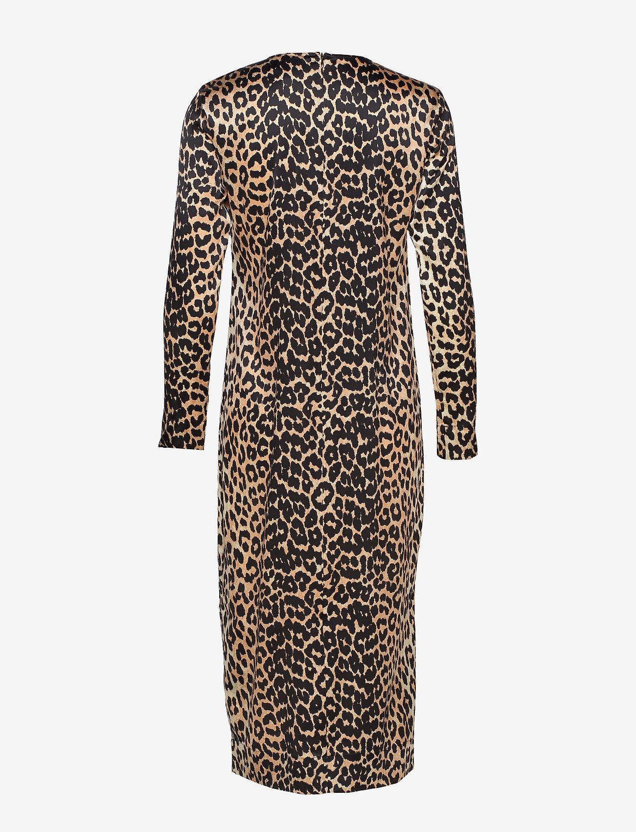 Ganni Silk Stretch Satin - Klänningar Leopard