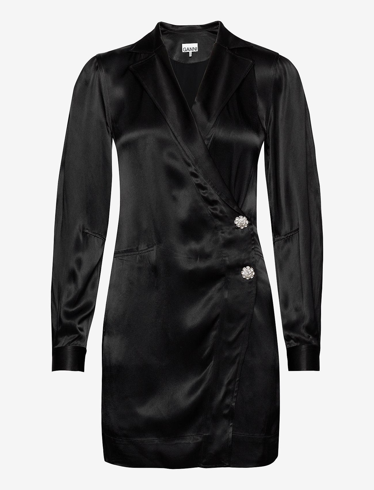 Ganni - Heavy Satin - slå-om-kjoler - black - 0